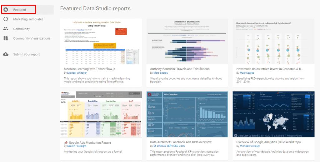 Рекомендуемые шаблоны в Google Data Studio