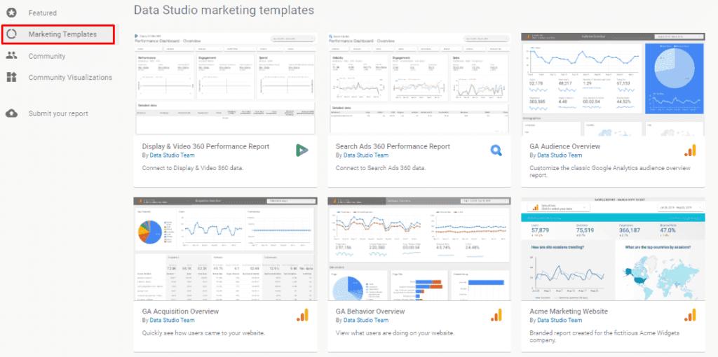 Маркетинговые шаблоны в Google Data Studio