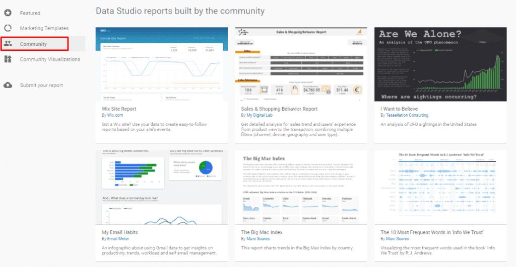Шаблоны сообщества в Google Data Studio