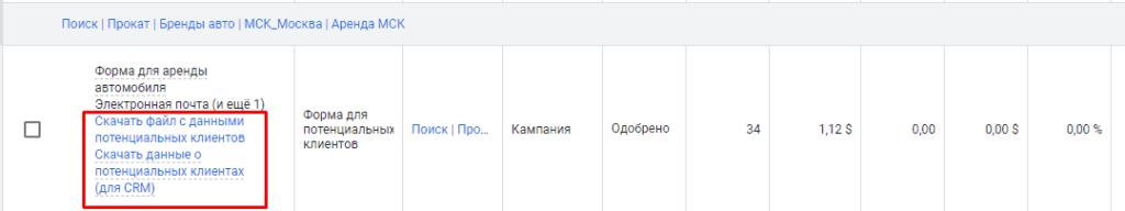 Скачивание данных о лидах с раширения лид формы в Google Adwords