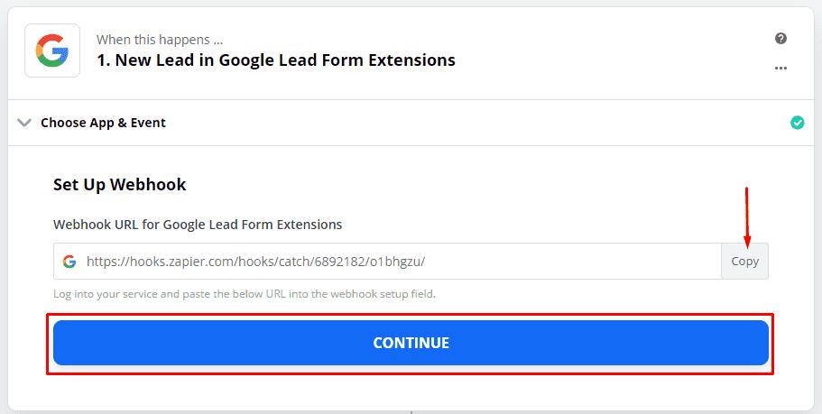Копирование вебхука для интеграции лид форм в Гугл Адвордс в Zapier