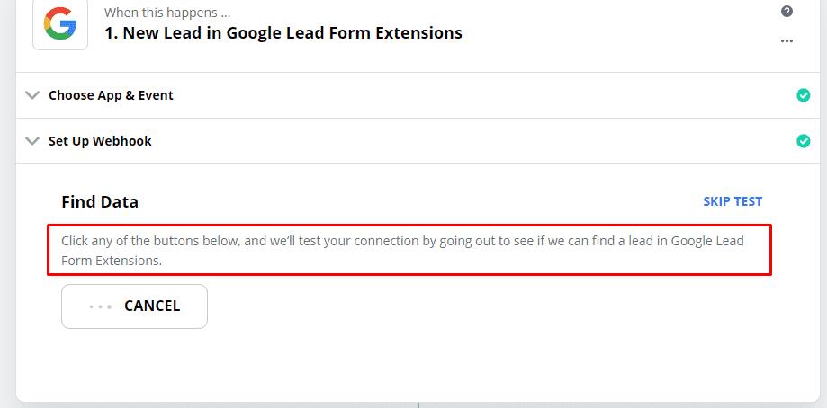 Поиск данных из тестовой отправки данных в вебхуке в форме лидов в Google Ads
