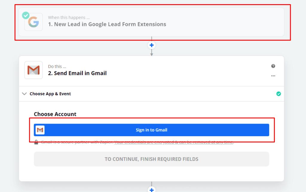 Вход в почту Gmail в Zapier