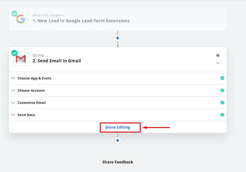 Завершение интеграции формы лидов Google Ads с Gmail в Zapier