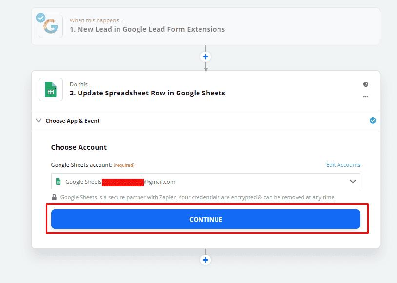 Продолжить интеграцию Гугл Таблиц в Zapier