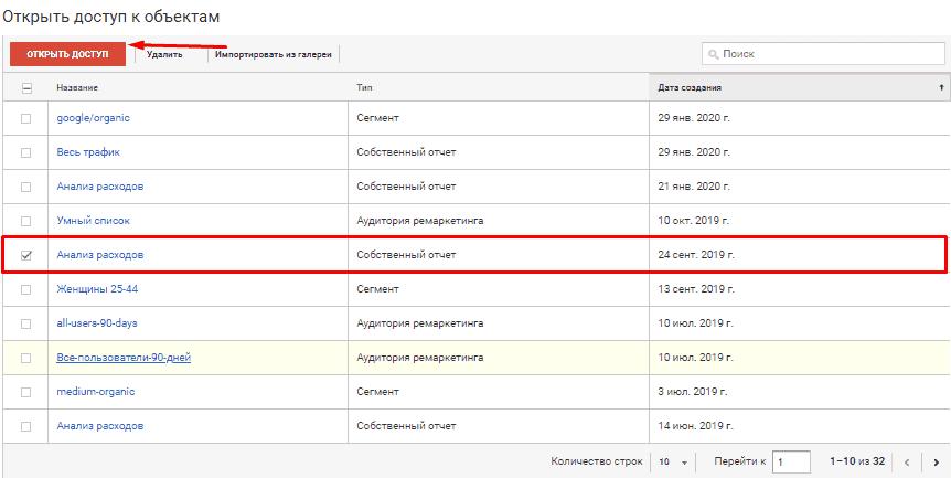 Открытие доступа к выбранному объекту в Google Analytics