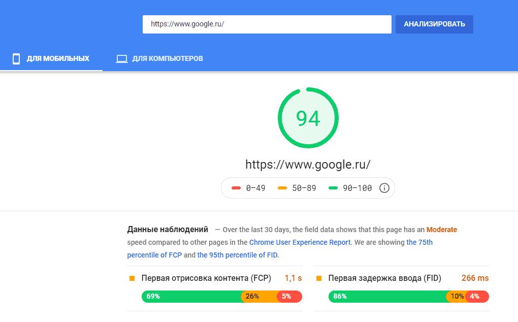 Проверка скорости загрузки сайта Google