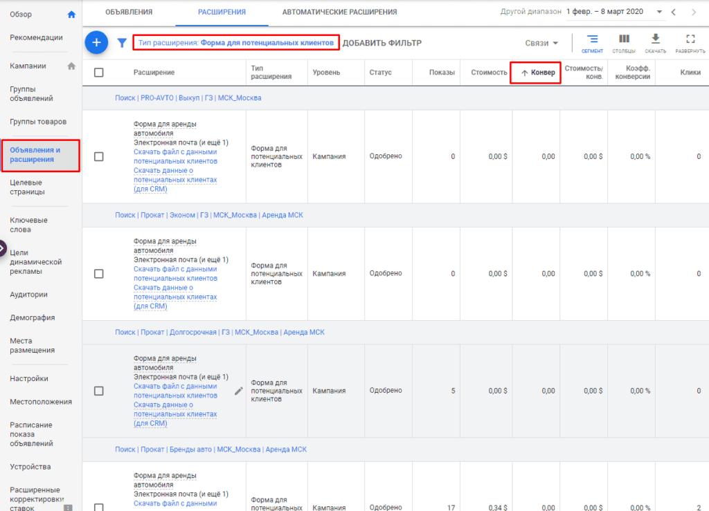 Просмотр статистики по полученным лидам в Google Adwords с раширения лид-форма