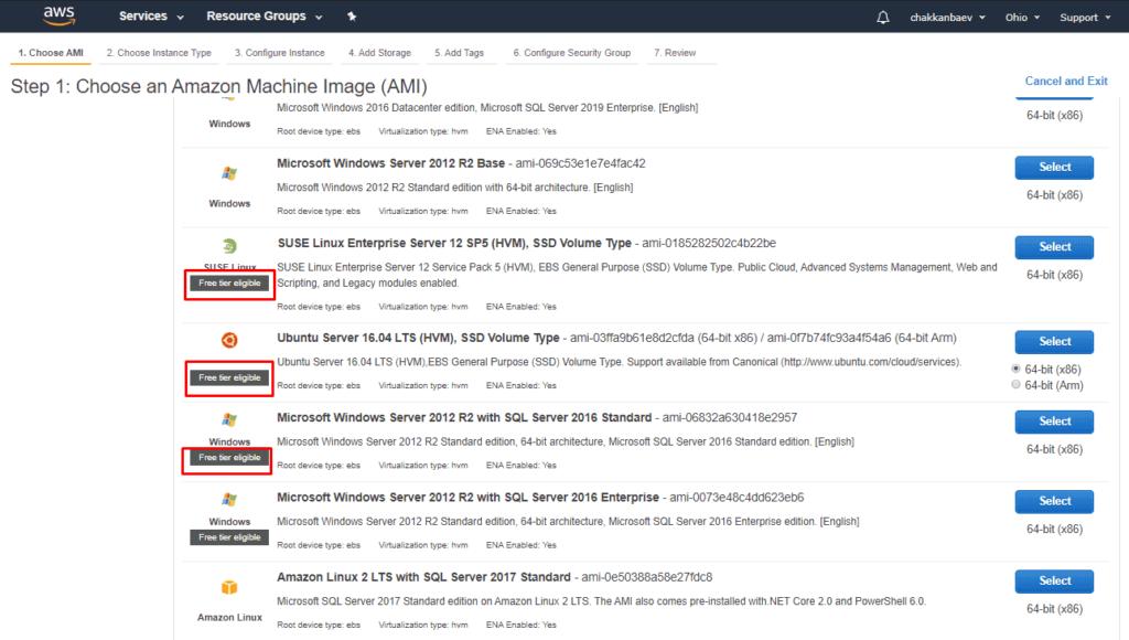 Шильдик с бесплатным сервером VDS EC2 Amazon Web Services