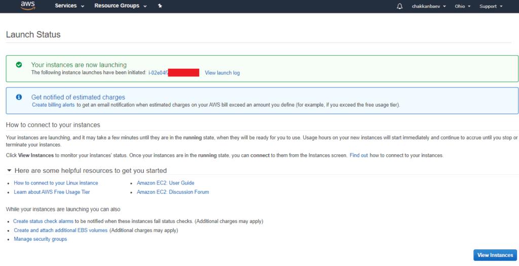 Созданный бесплатный сервер VPS в Амазон