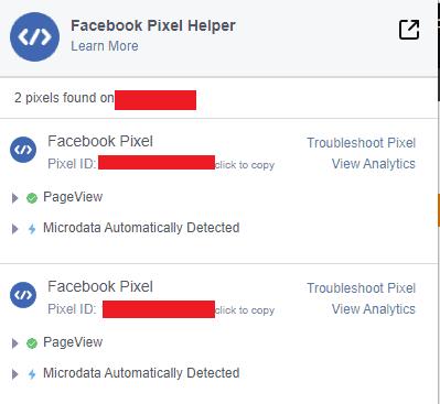 Наличие сразу двух пикселей Фейсбука в Pixel Helper