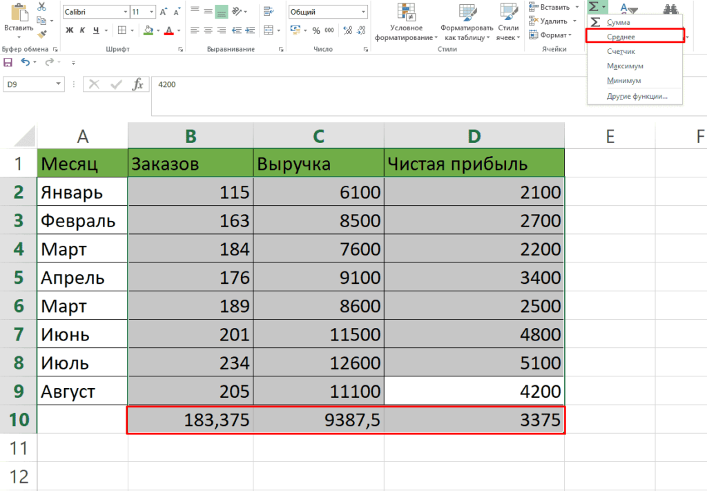 Подсчет среднего арифметического числа через вкладку Главное в таблицах Excel