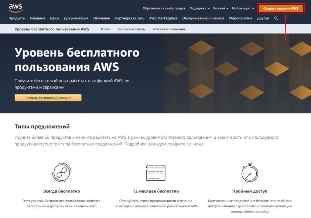 Создание аккаунта AWS (Amazon)