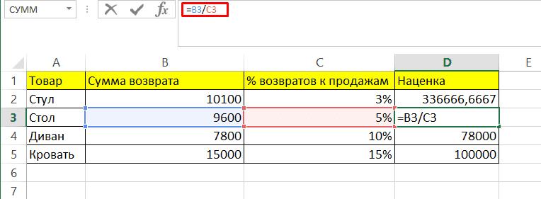 Расчет и поиск 100% от числа в Ексель