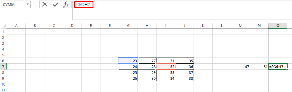Результат фиксированной формулы по строке со знаком доллара ($) в таблице Excel