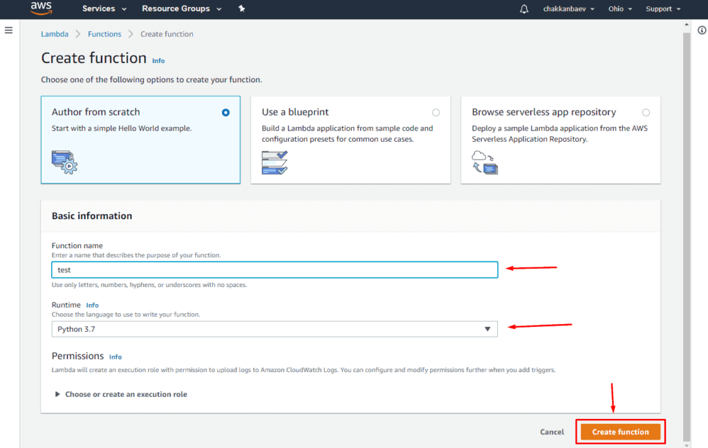 Настройка сервера Amazon Lambda для запуска кода