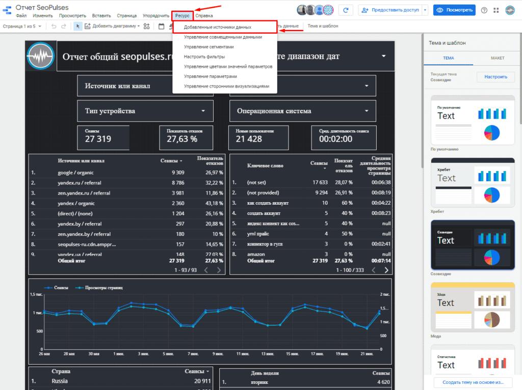 Переход в ресурс и изменение источника данных в Google Data Studio