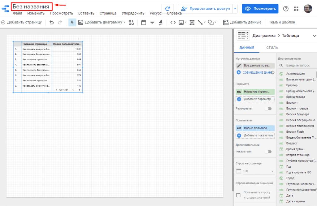 Изменение названия дашборда в Google Data Studio