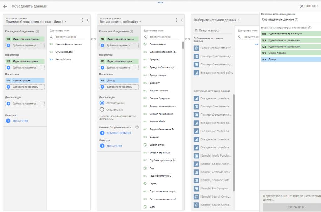 Сдвинутые влево совмещенные данные в Google Data Studio