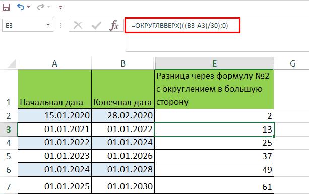 Разница месяцев между датами через простую формулу с округлением в большую сторону в Эксель