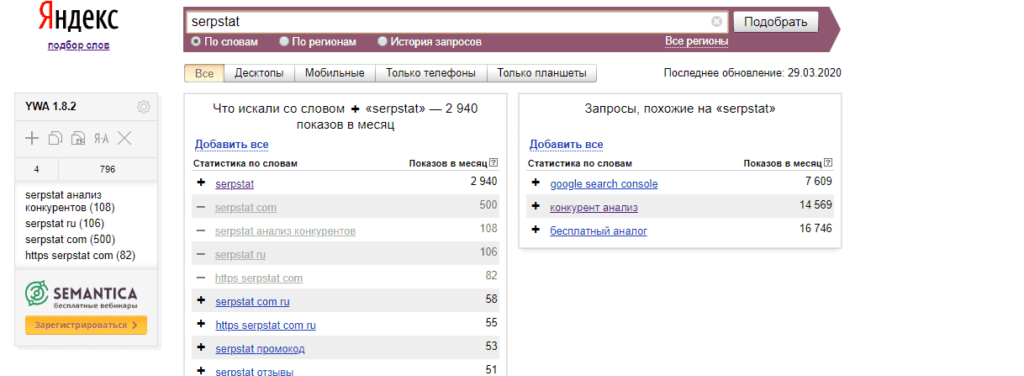 Интерфейс сбора ключевых фраз в Yandex Wordstat