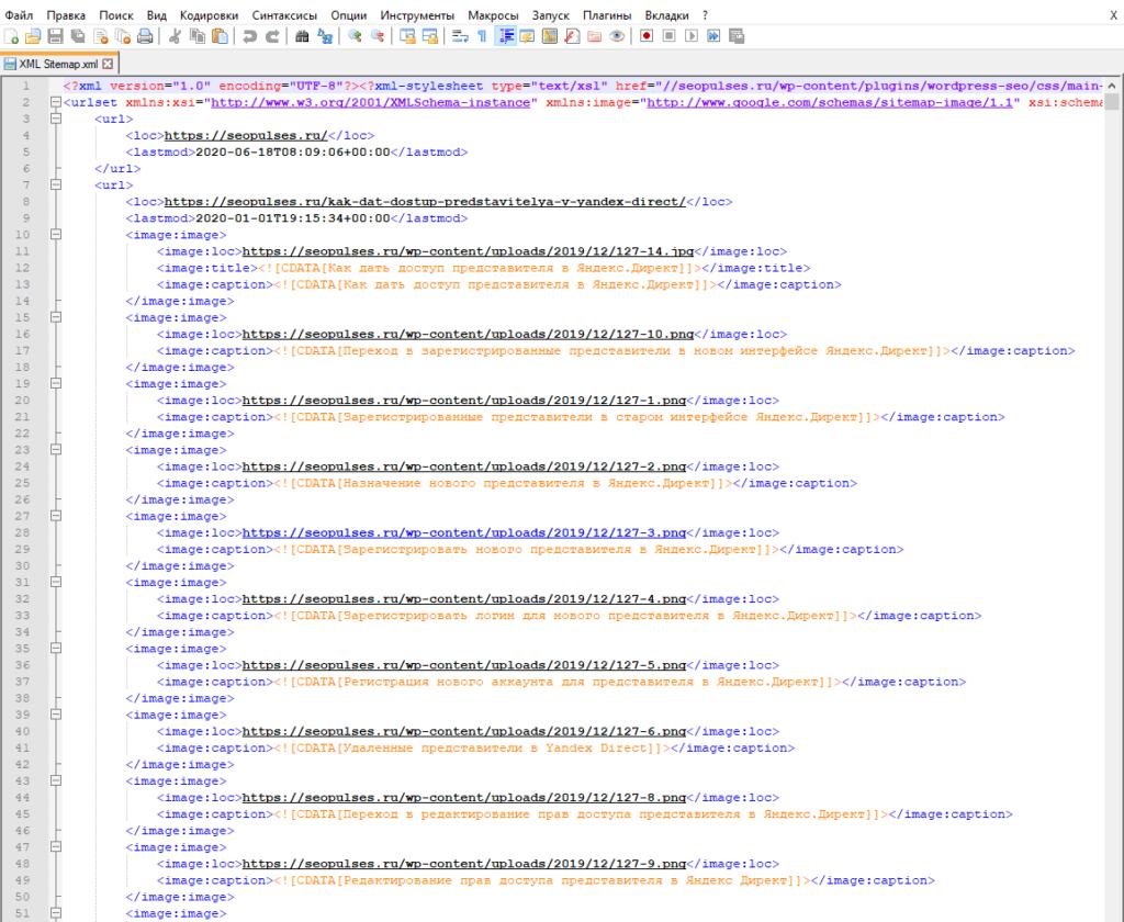 Карта сайта в текстовом рекдакторе NotePad++