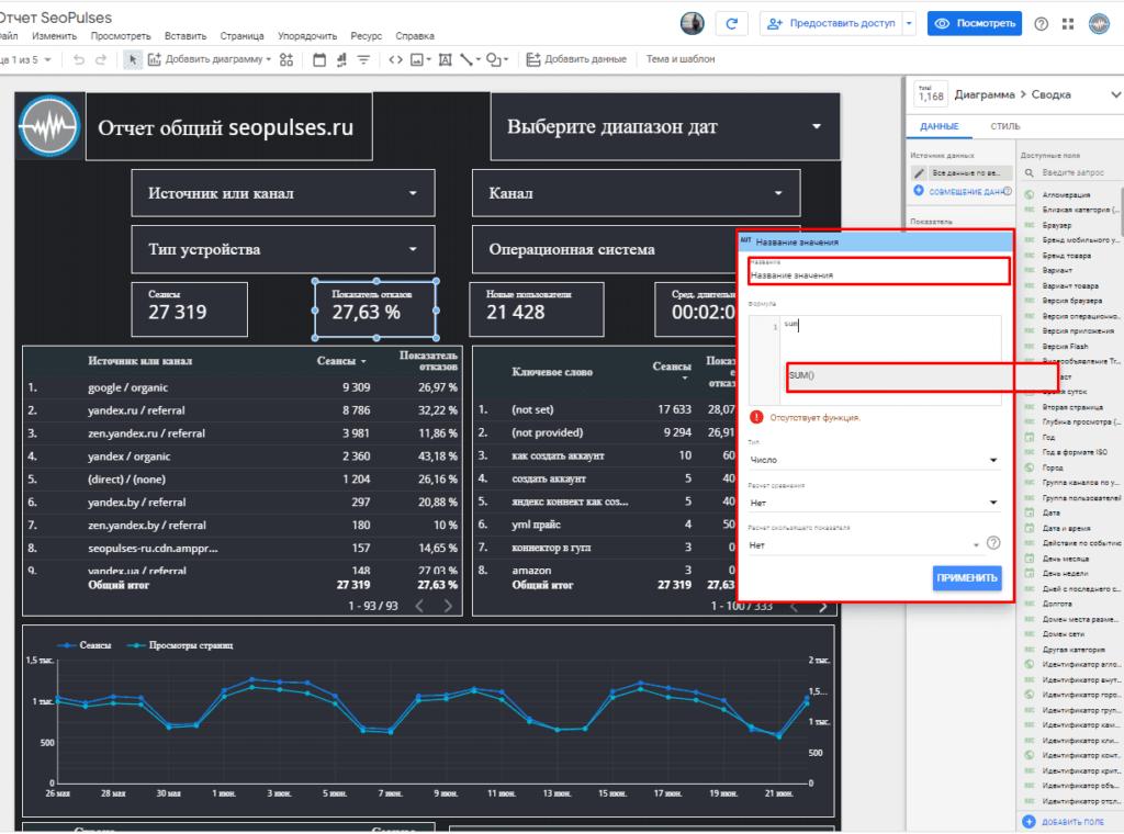 Создание нового показателя с формулами и функциями в Гугл Дата Студио