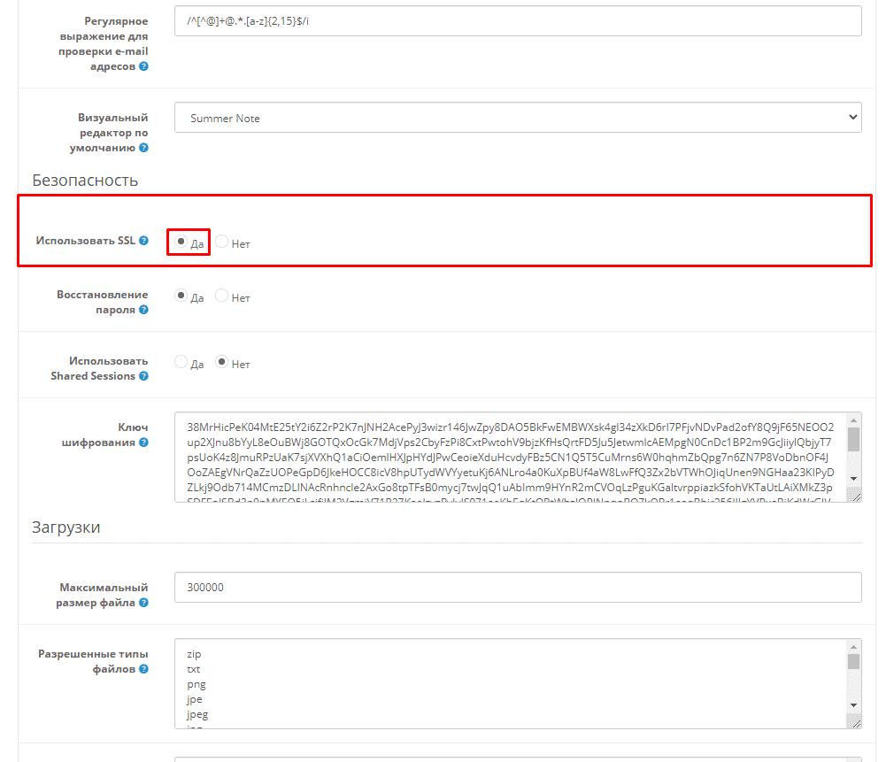 Включение настроек для работы SSL-сетификата на сайте на Опенкарт