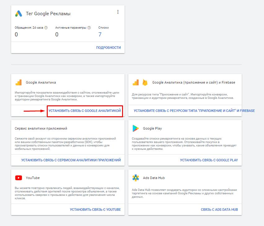 Установление связи с Google Аналитикой в Гугл Рекламе