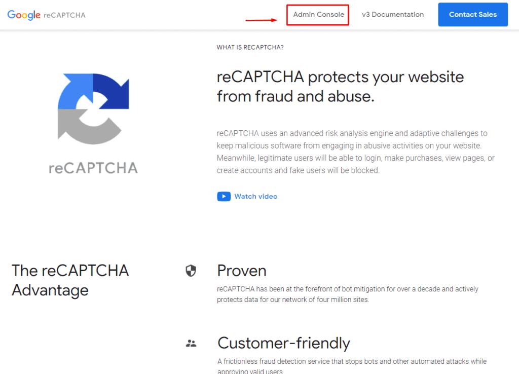 Переход в консоль администратора в ReCaptcha от Google