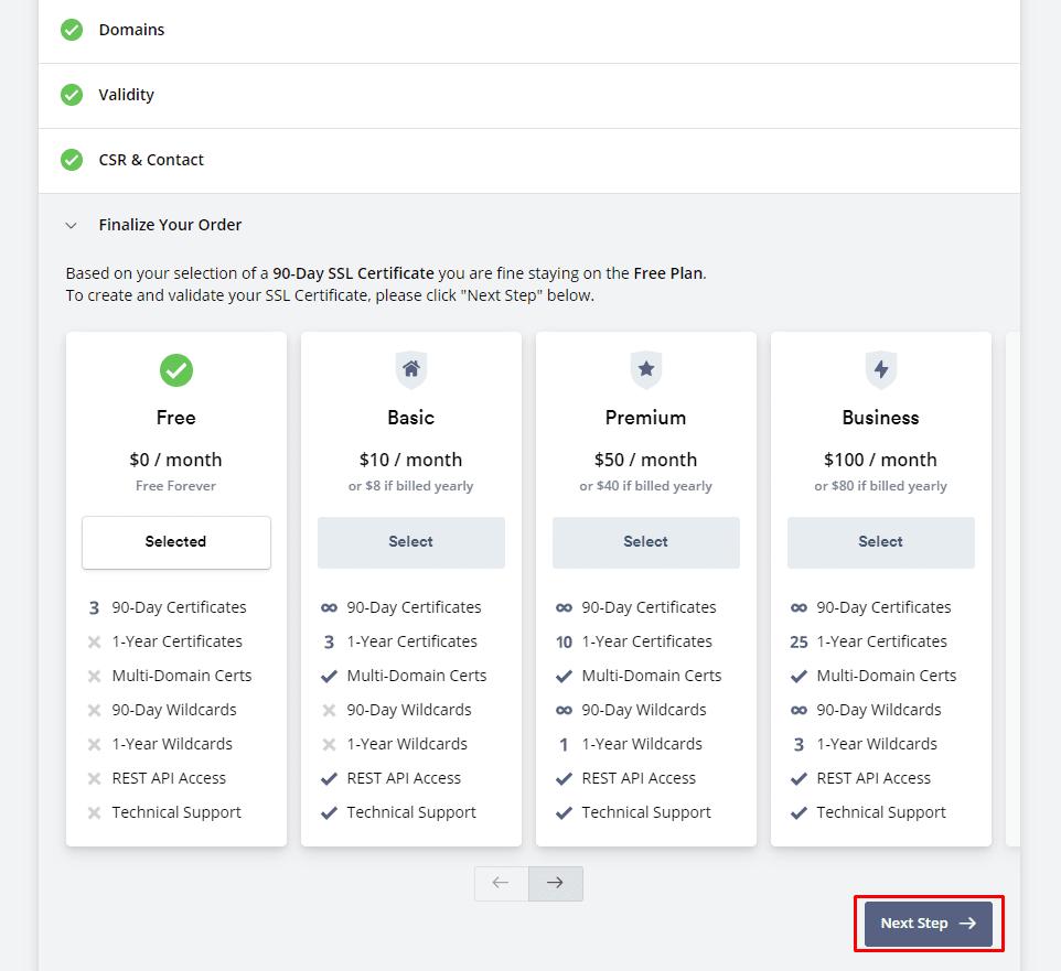 Выбор тарифа для получения бесплатного SSL-сертифката