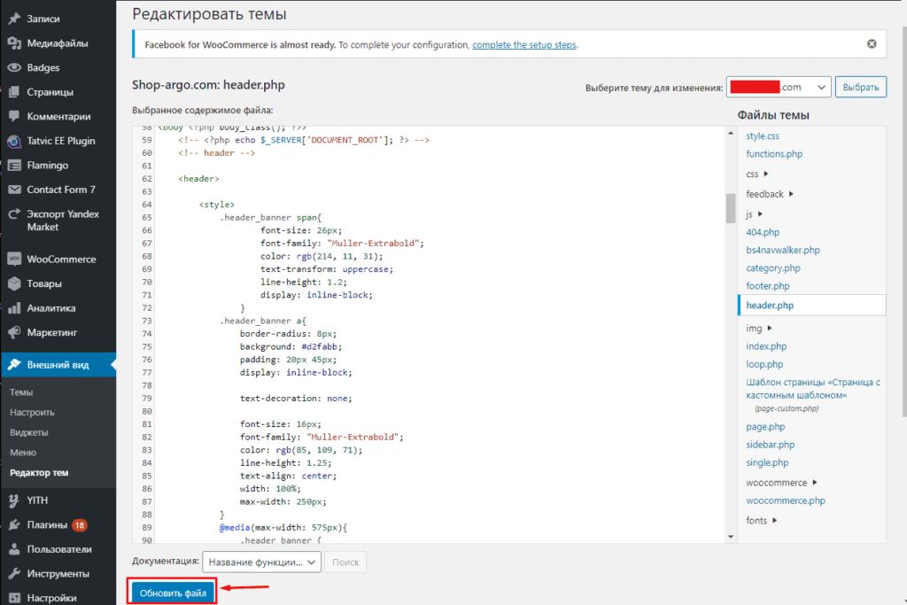 Обновление файла head с пикселем Facebook в WordPress