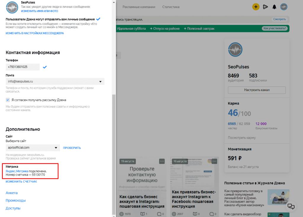 Настроенный счетчик Яндекс.Метрики к каналу в Дзене
