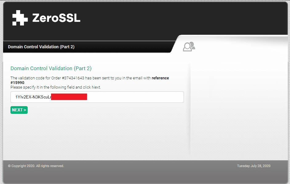 Получение варификационного кода для подтверждения бесплатного SSL-сертификата