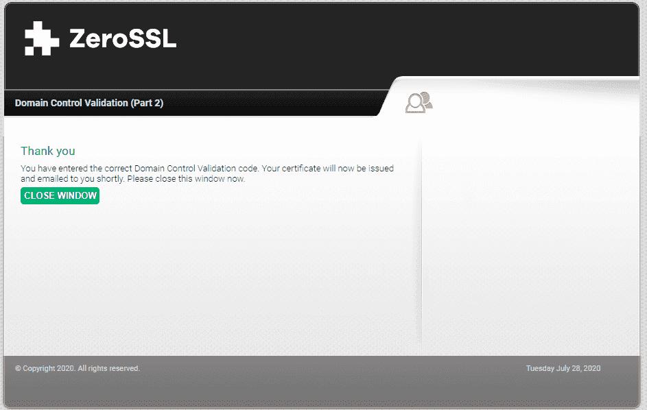 Окончание подтверждения бесплатного SSL-сертификата