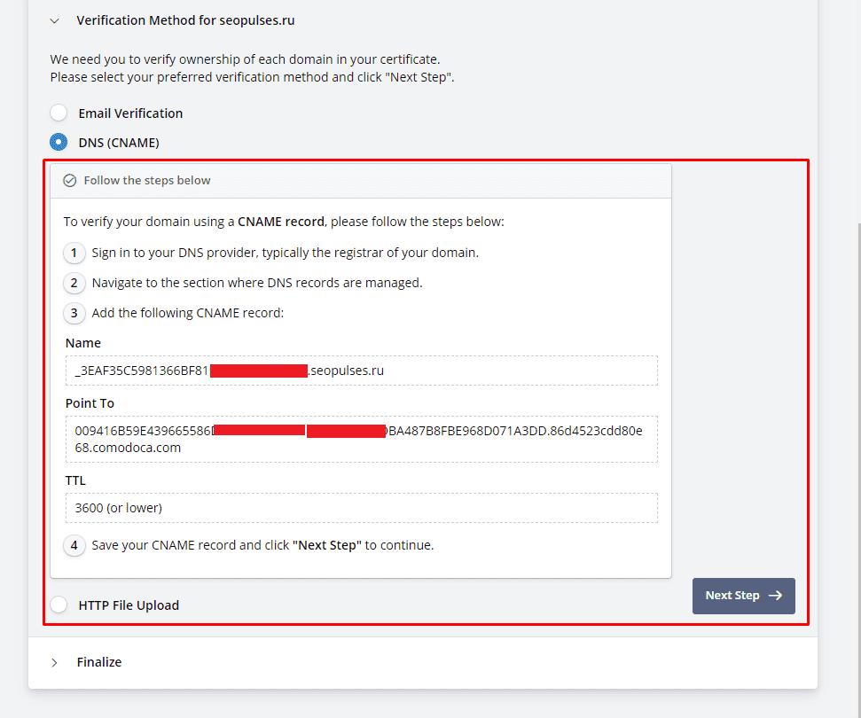 Подтверждение SSL-сертификата через DNS