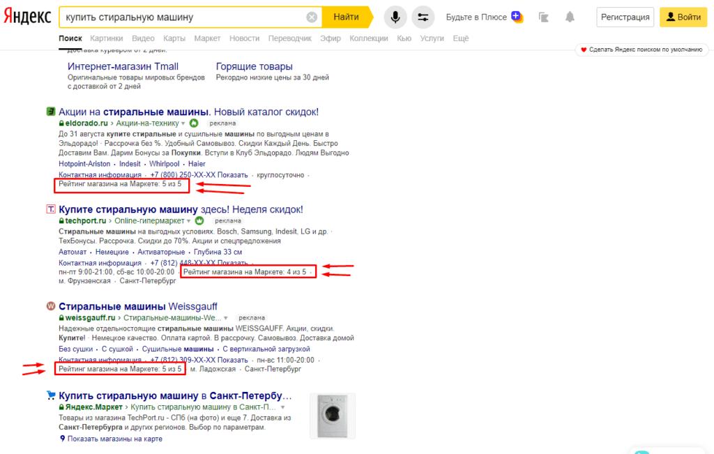 Пример рейтинга Маркета в объявлениях Яндекс.Директ в блоке над поисковой выдаче