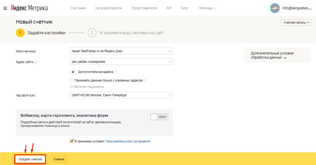 Ввод адреса канала Яндекс Дзена в Метрике при создании счетчика