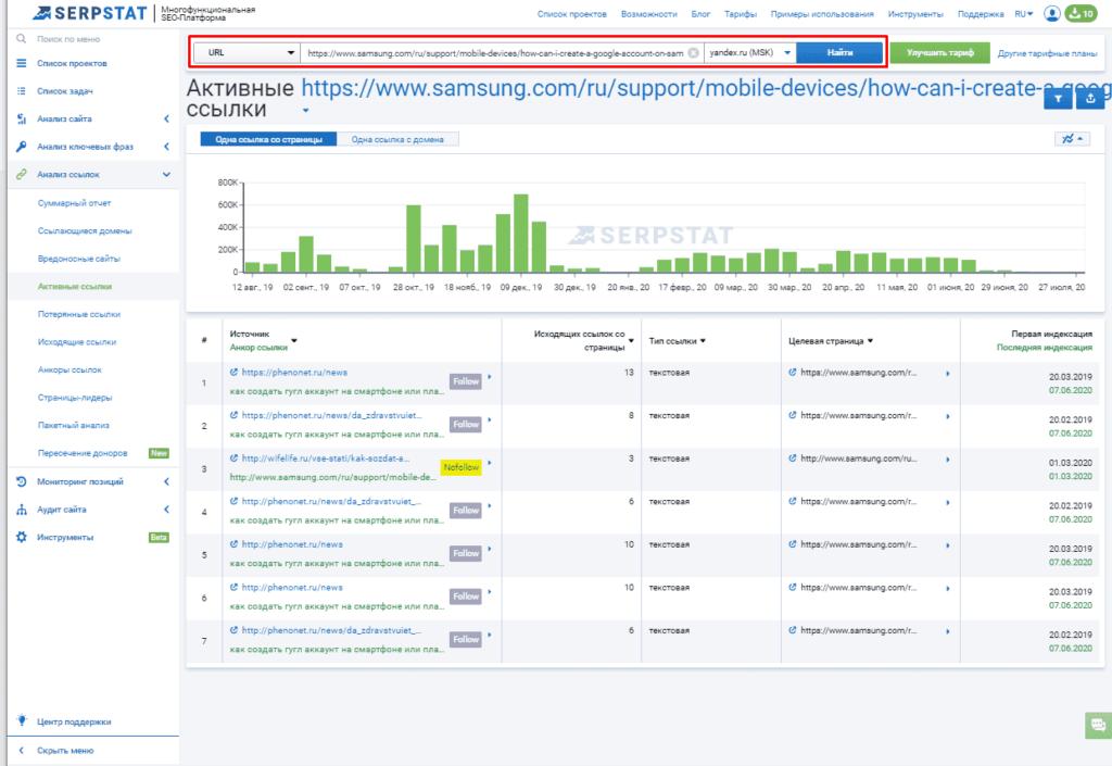 Анализ обратных ссылок на страницу в Serpstat
