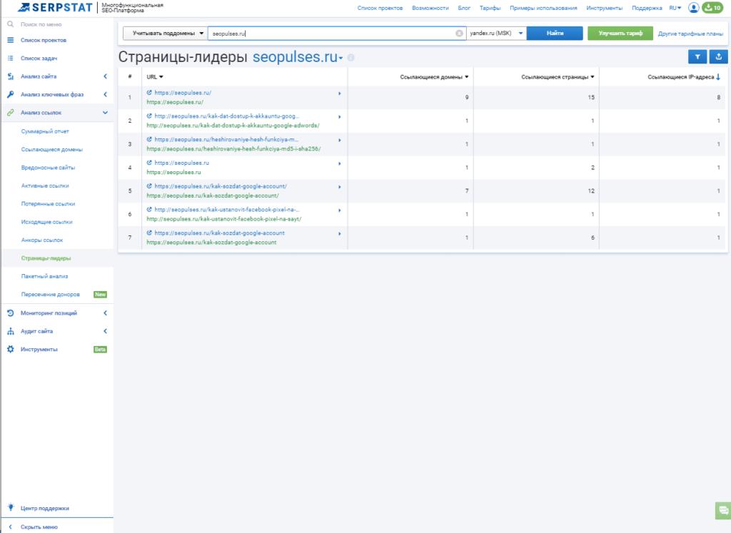 Страницы лидеры seopulses.ru по количеству ссылок
