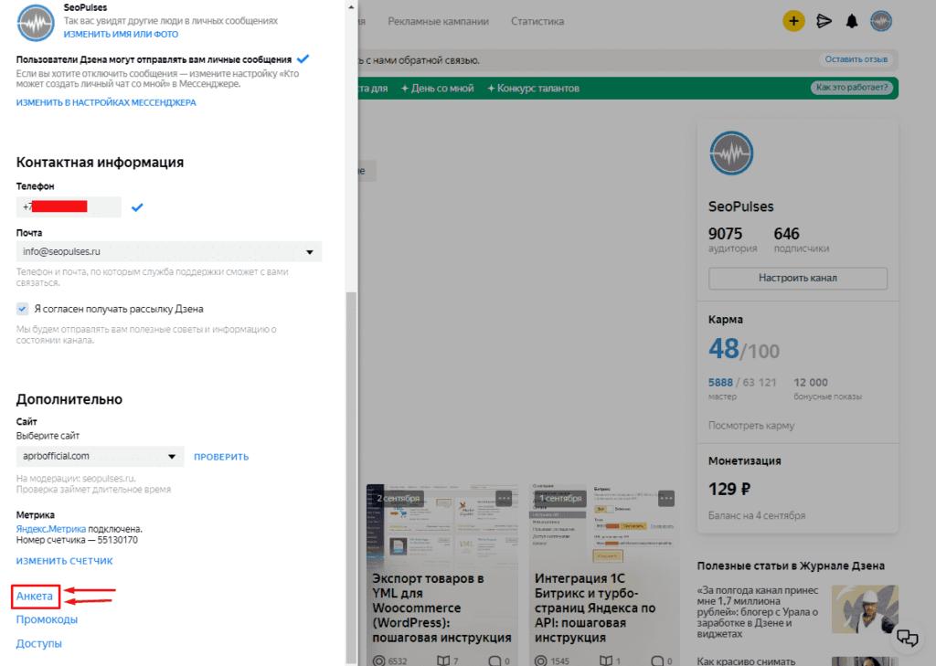 Заполнение анкеты для монетизации в Яндекс.Дзен