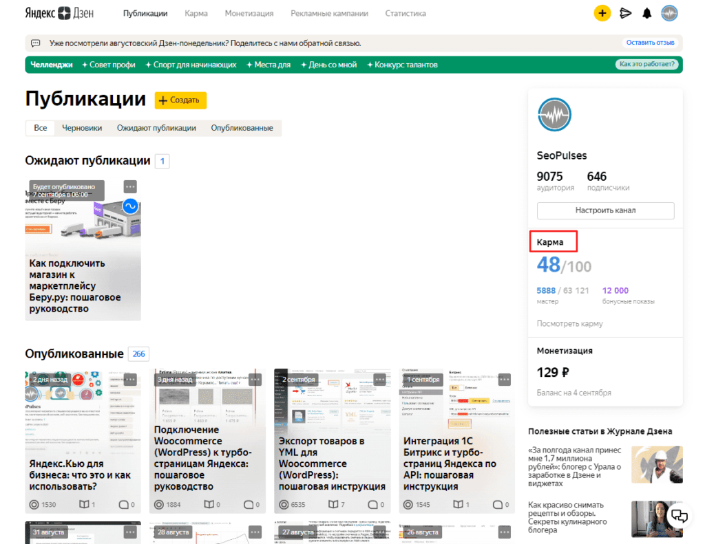 Просмотр кармы в Яндекс Дзене