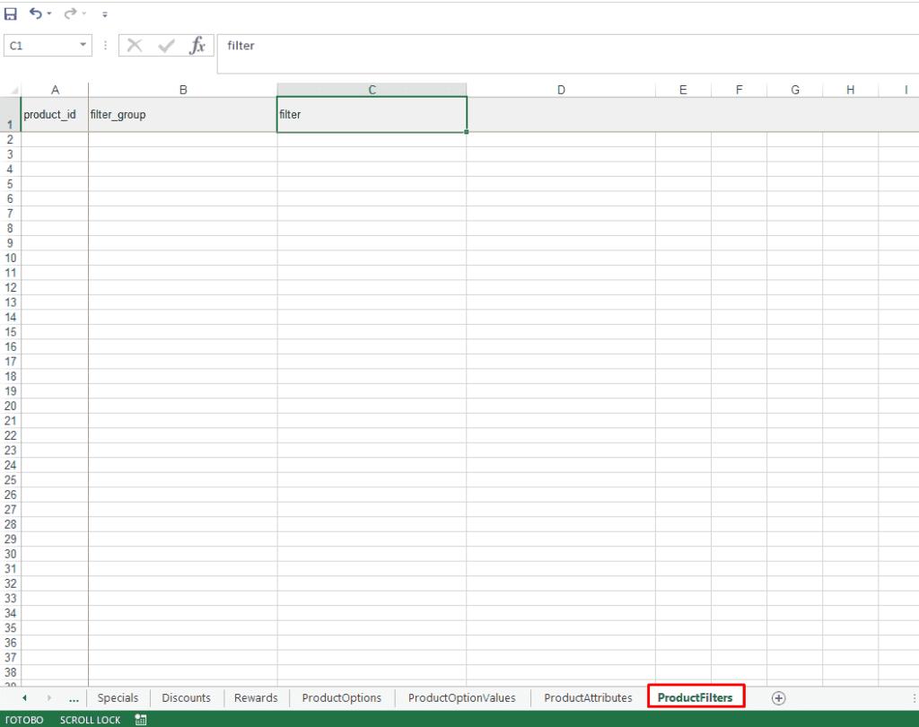 Файл экспорта товаров c фильтрами из интернет-магазина на Опенкарт
