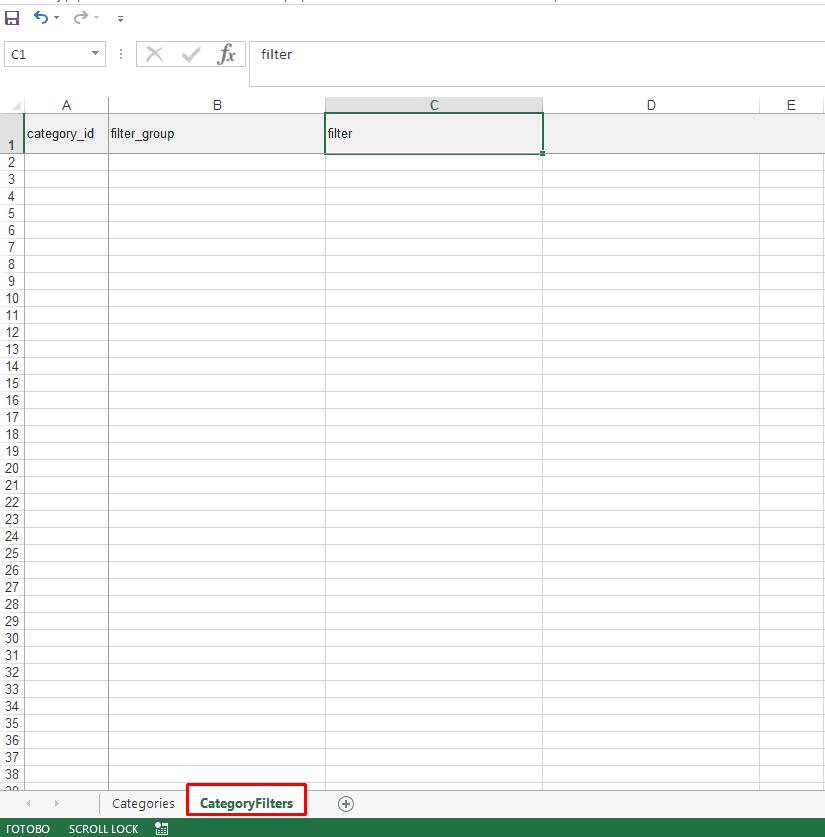 Файл экспорта категорий с фильтрами из интернет-магазина на Опенкарт