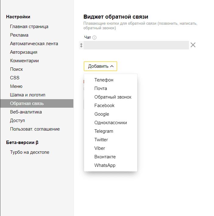Выбор способа обратной связи турбо-страниц Яндекса для сайта на Вордпресс для Яндекс.Вебмастер