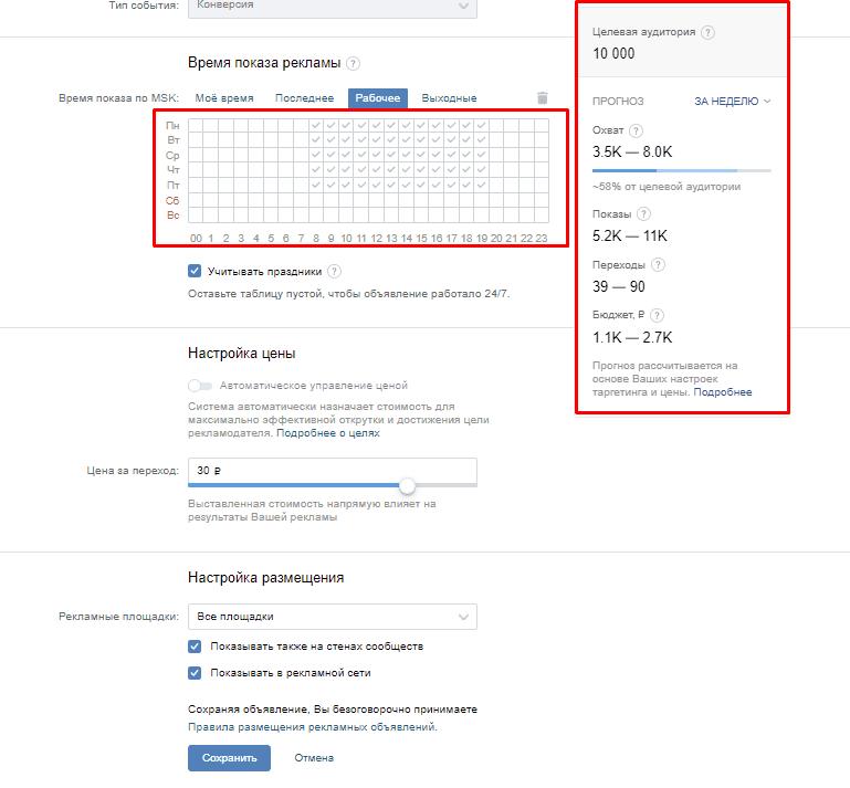 Оценка бюджета ВКонтакте по часам