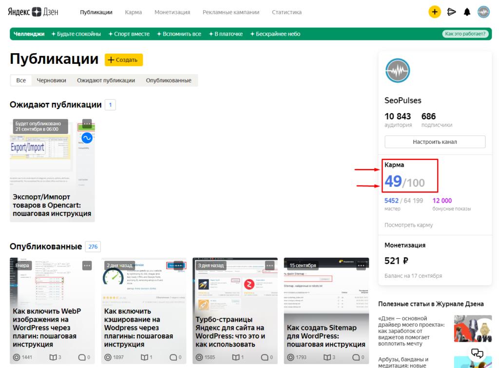 Переход в карму в канале Яндекс Дзене