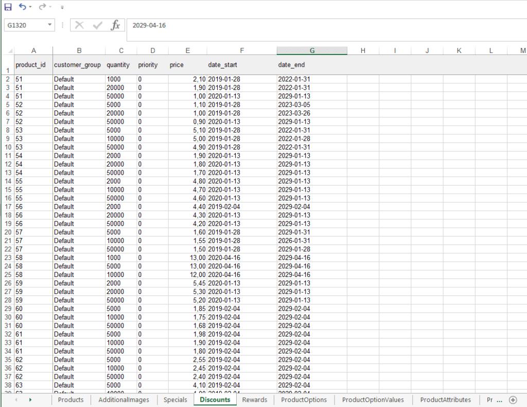 Файл экспорта товаров cо скидками из Opencart