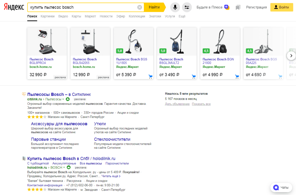 Товарная галерея для узких категорий в поиске Yandex