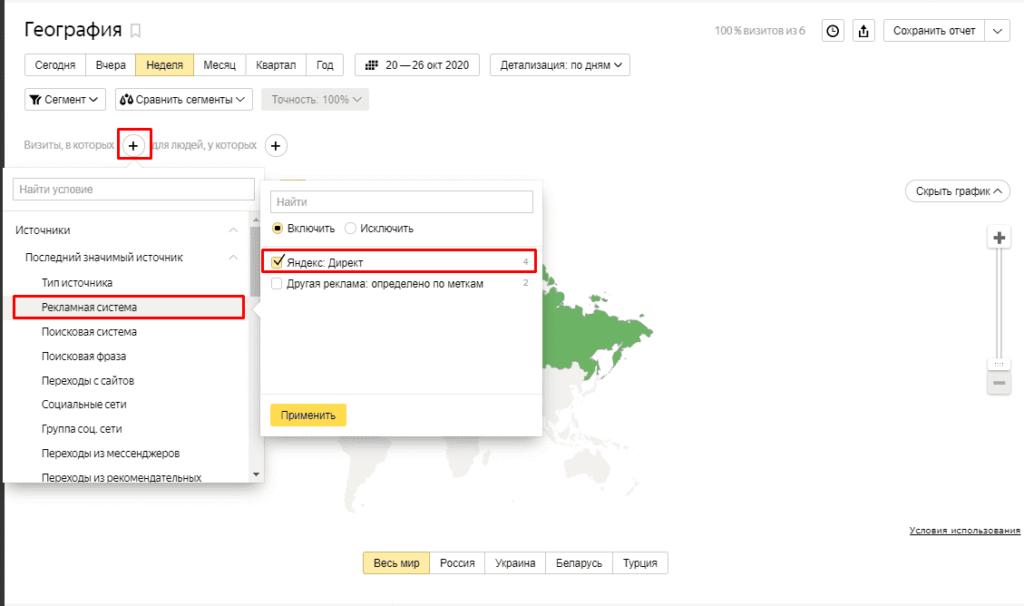 Фильтр по рекламе в Яндекс.Директ в Yandex Metrika